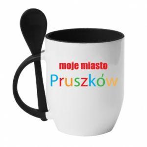 Kubek z ceramiczną łyżeczką Napis: Moje miasto Pruszków - PrintSalon
