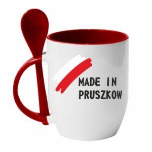 """Kubek z ceramiczną łyżeczką """"Made in Pruszkow"""""""
