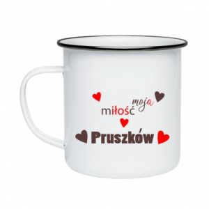 Enameled mug Inscription - My love is Pruszkow