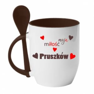 Mug with ceramic spoon Inscription - My love is Pruszkow