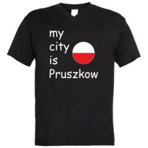 Men's V-neck t-shirt My city is Pruszkow