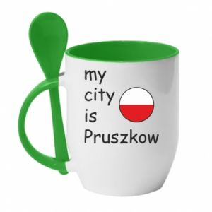 Kubek z ceramiczną łyżeczką My city is Pruszkow