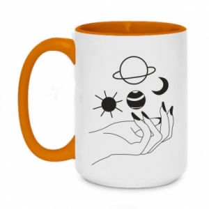 Two-toned mug 450ml Space on the palm