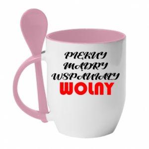 Kubek z ceramiczną łyżeczką Przystojny, mądry, wspaniały – wolny