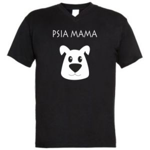 Męska koszulka V-neck Psia mama