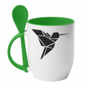 Kubek z ceramiczną łyżeczką Ptak