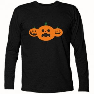 Long Sleeve T-shirt Pumpkins with scary faces - PrintSalon