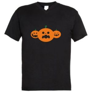 Men's V-neck t-shirt Pumpkins with scary faces