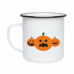 Enameled mug Pumpkins with scary faces