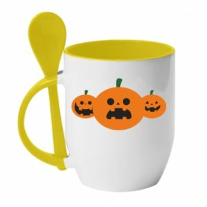 Mug with ceramic spoon Pumpkins with scary faces - PrintSalon