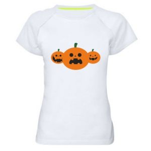 Women's sports t-shirt Pumpkins with scary faces