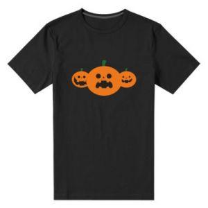 Męska premium koszulka Pumpkins with scary faces