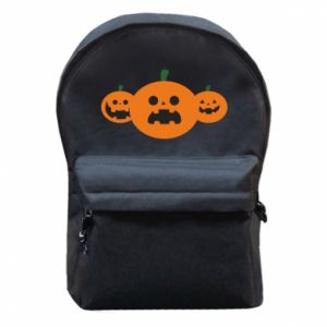 Backpack with front pocket Pumpkins with scary faces - PrintSalon