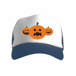 Czapka trucker dziecięca Pumpkins with scary faces