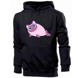 Men's hoodie Purple cat mermaid - PrintSalon
