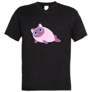 Men's V-neck t-shirt Purple cat mermaid - PrintSalon