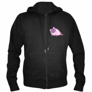 Men's zip up hoodie Purple cat mermaid - PrintSalon
