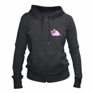 Women's zip up hoodies Purple cat mermaid - PrintSalon