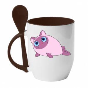 Mug with ceramic spoon Purple cat mermaid - PrintSalon