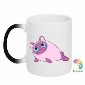 Chameleon mugs Purple cat mermaid - PrintSalon