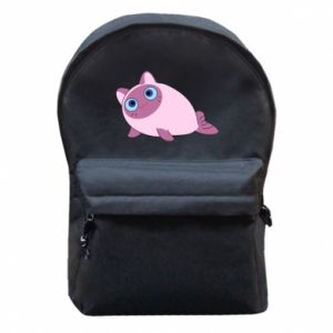 Backpack with front pocket Purple cat mermaid - PrintSalon