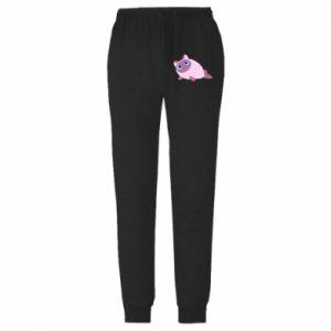Męskie spodnie lekkie Purple cat mermaid - PrintSalon