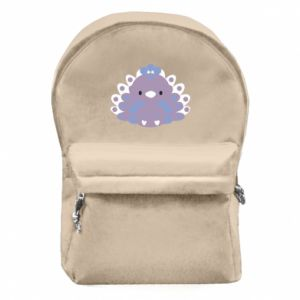 Backpack with front pocket Purple peacock - PrintSalon