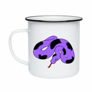 Enameled mug Purple snake