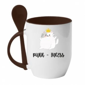 Kubek z ceramiczną łyżeczką Purr-incess