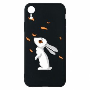 Phone case for iPhone XR Rabbit looks at the leaves - PrintSalon
