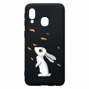 Phone case for Samsung A40 Rabbit looks at the leaves - PrintSalon