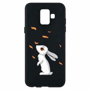 Phone case for Samsung A6 2018 Rabbit looks at the leaves - PrintSalon