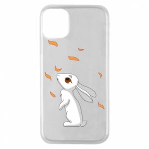 Phone case for iPhone 11 Pro Rabbit looks at the leaves - PrintSalon