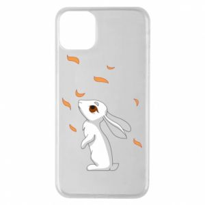 Phone case for iPhone 11 Pro Max Rabbit looks at the leaves - PrintSalon