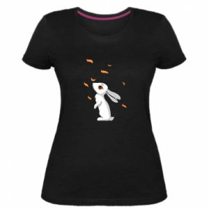 Women's premium t-shirt Rabbit looks at the leaves