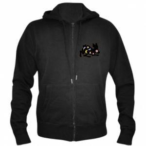 Men's zip up hoodie Rabbit with flowers - PrintSalon
