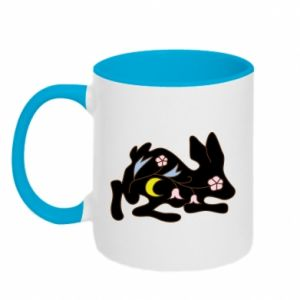 Two-toned mug Rabbit with flowers