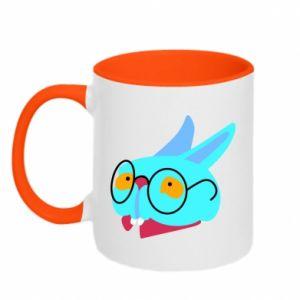 Two-toned mug Rabbit with glasses - PrintSalon