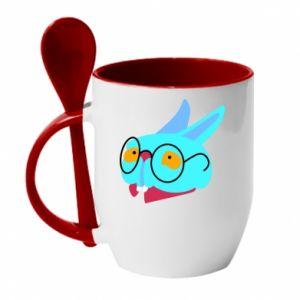 Mug with ceramic spoon Rabbit with glasses - PrintSalon