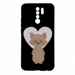 Etui na Xiaomi Redmi 9 Raccoon with heart