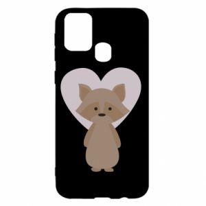 Etui na Samsung M31 Raccoon with heart