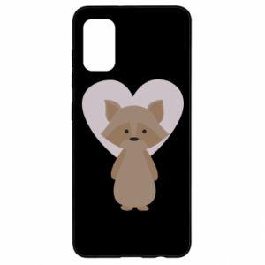 Etui na Samsung A41 Raccoon with heart