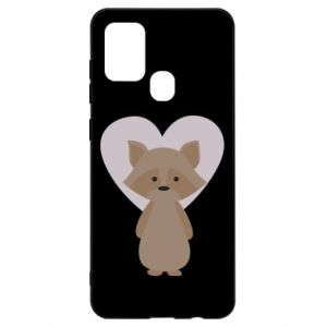 Etui na Samsung A21s Raccoon with heart