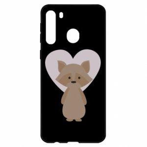 Etui na Samsung A21 Raccoon with heart