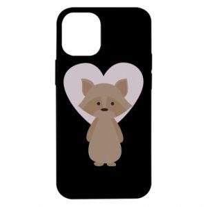 Etui na iPhone 12 Mini Raccoon with heart