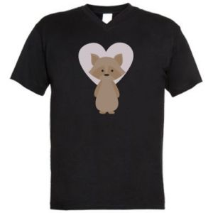 Męska koszulka V-neck Raccoon with heart