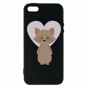 Etui na iPhone 5/5S/SE Raccoon with heart