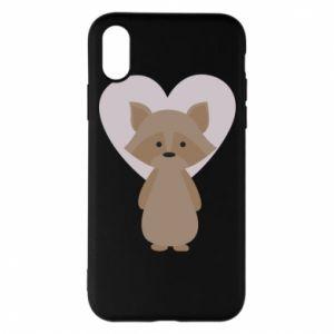 Etui na iPhone X/Xs Raccoon with heart