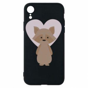 Etui na iPhone XR Raccoon with heart