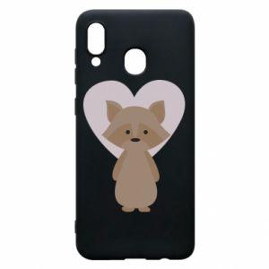 Etui na Samsung A20 Raccoon with heart